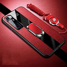 Coque Silicone Gel Motif Cuir Housse Etui avec Support Bague Anneau Aimante Magnetique pour Xiaomi Mi 10 Ultra Rouge