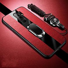 Coque Silicone Gel Motif Cuir Housse Etui avec Support Bague Anneau Aimante Magnetique pour Xiaomi Redmi 9 Prime India Rouge
