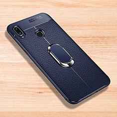 Coque Silicone Gel Motif Cuir Housse Etui avec Support Bague Anneau Aimante Magnetique pour Xiaomi Redmi Note 7 Bleu