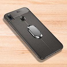 Coque Silicone Gel Motif Cuir Housse Etui avec Support Bague Anneau Aimante Magnetique pour Xiaomi Redmi Note 7 Gris