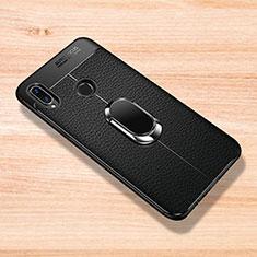 Coque Silicone Gel Motif Cuir Housse Etui avec Support Bague Anneau Aimante Magnetique pour Xiaomi Redmi Note 7 Noir