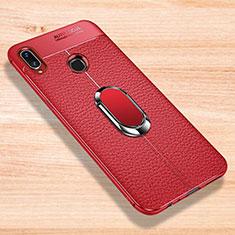 Coque Silicone Gel Motif Cuir Housse Etui avec Support Bague Anneau Aimante Magnetique pour Xiaomi Redmi Note 7 Rouge