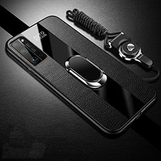 Coque Silicone Gel Motif Cuir Housse Etui avec Support Bague Anneau Aimante Magnetique S01 pour Huawei Honor 30 Pro Noir