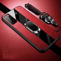 Coque Silicone Gel Motif Cuir Housse Etui avec Support Bague Anneau Aimante Magnetique S01 pour Huawei Honor Play4 5G Rouge