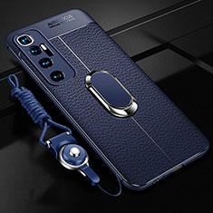 Coque Silicone Gel Motif Cuir Housse Etui avec Support Bague Anneau Aimante Magnetique S01 pour Xiaomi Mi 10 Ultra Bleu