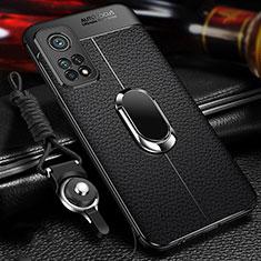 Coque Silicone Gel Motif Cuir Housse Etui avec Support Bague Anneau Aimante Magnetique S01 pour Xiaomi Mi 10T 5G Noir