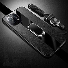 Coque Silicone Gel Motif Cuir Housse Etui avec Support Bague Anneau Aimante Magnetique S01 pour Xiaomi Mi 11 5G Noir