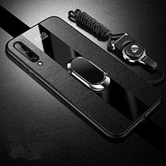Coque Silicone Gel Motif Cuir Housse Etui avec Support Bague Anneau Aimante Magnetique S02 pour Huawei Enjoy 10S Noir
