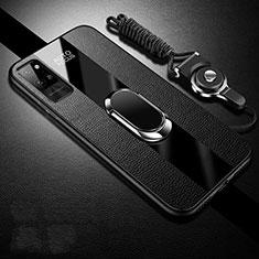 Coque Silicone Gel Motif Cuir Housse Etui avec Support Bague Anneau Aimante Magnetique S02 pour Huawei Honor Play4 Pro 5G Noir