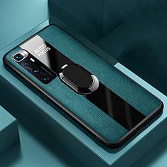 Coque Silicone Gel Motif Cuir Housse Etui avec Support Bague Anneau Aimante Magnetique S02 pour Xiaomi Mi 10 Ultra Vert
