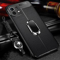 Coque Silicone Gel Motif Cuir Housse Etui avec Support Bague Anneau Aimante Magnetique S02 pour Xiaomi Mi 11 5G Noir