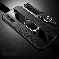Coque Silicone Gel Motif Cuir Housse Etui avec Support Bague Anneau Aimante Magnetique S03 pour Huawei Enjoy 10e Noir