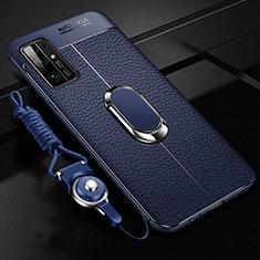 Coque Silicone Gel Motif Cuir Housse Etui avec Support Bague Anneau Aimante Magnetique S03 pour Huawei Honor 30 Bleu