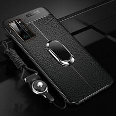 Coque Silicone Gel Motif Cuir Housse Etui avec Support Bague Anneau Aimante Magnetique S03 pour Huawei Honor 30 Pro Noir