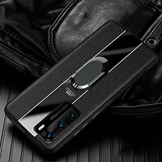 Coque Silicone Gel Motif Cuir Housse Etui avec Support Bague Anneau Aimante Magnetique S04 pour Huawei P40 Noir