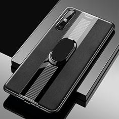 Coque Silicone Gel Motif Cuir Housse Etui avec Support Bague Anneau Aimante Magnetique S05 pour Huawei Enjoy 10e Noir