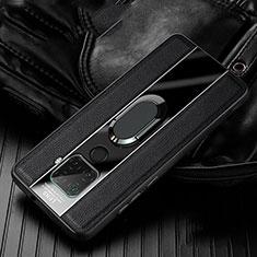 Coque Silicone Gel Motif Cuir Housse Etui avec Support Bague Anneau Aimante Magnetique S05 pour Huawei Mate 30 Lite Noir