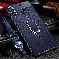 Coque Silicone Gel Motif Cuir Housse Etui avec Support Bague Anneau Aimante Magnetique T01 pour Huawei Honor 20 Lite Bleu