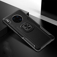 Coque Silicone Gel Motif Cuir Housse Etui avec Support Bague Anneau Aimante Magnetique T01 pour Huawei Mate 30E Pro 5G Noir