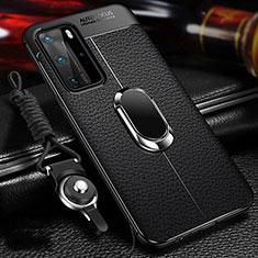 Coque Silicone Gel Motif Cuir Housse Etui avec Support Bague Anneau Aimante Magnetique T01 pour Huawei P40 Pro Noir