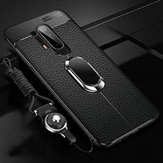 Coque Silicone Gel Motif Cuir Housse Etui avec Support Bague Anneau Aimante Magnetique T01 pour OnePlus 8 Pro Noir