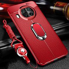 Coque Silicone Gel Motif Cuir Housse Etui avec Support Bague Anneau Aimante Magnetique T01 pour Xiaomi Mi 10T Lite 5G Rouge