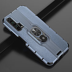 Coque Silicone Gel Motif Cuir Housse Etui avec Support Bague Anneau Aimante Magnetique T02 pour Huawei Honor 20 Pro Bleu
