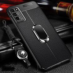 Coque Silicone Gel Motif Cuir Housse Etui avec Support Bague Anneau Aimante Magnetique T02 pour Huawei Honor 30 Lite 5G Noir