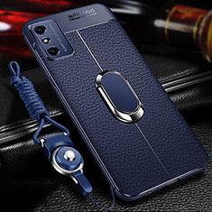 Coque Silicone Gel Motif Cuir Housse Etui avec Support Bague Anneau Aimante Magnetique T02 pour Huawei Honor X10 Max 5G Bleu