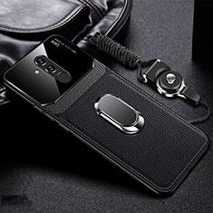 Coque Silicone Gel Motif Cuir Housse Etui avec Support Bague Anneau Aimante Magnetique T02 pour Huawei Mate 20 Lite Noir