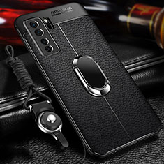 Coque Silicone Gel Motif Cuir Housse Etui avec Support Bague Anneau Aimante Magnetique T02 pour Huawei Nova 7 SE 5G Noir
