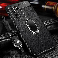 Coque Silicone Gel Motif Cuir Housse Etui avec Support Bague Anneau Aimante Magnetique T02 pour Huawei P40 Lite 5G Noir