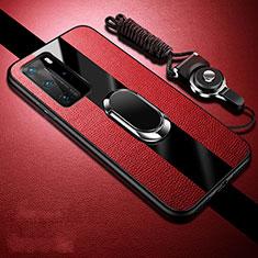 Coque Silicone Gel Motif Cuir Housse Etui avec Support Bague Anneau Aimante Magnetique T02 pour Huawei P40 Pro Rouge