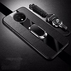 Coque Silicone Gel Motif Cuir Housse Etui avec Support Bague Anneau Aimante Magnetique T02 pour OnePlus 7T Noir