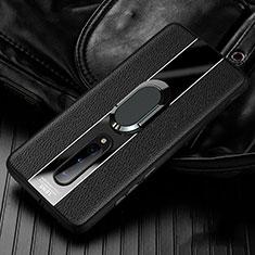 Coque Silicone Gel Motif Cuir Housse Etui avec Support Bague Anneau Aimante Magnetique T02 pour OnePlus 8 Noir