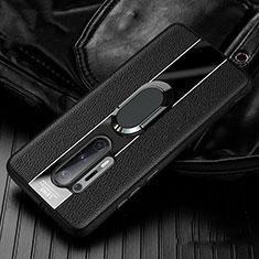 Coque Silicone Gel Motif Cuir Housse Etui avec Support Bague Anneau Aimante Magnetique T02 pour OnePlus 8 Pro Noir
