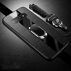 Coque Silicone Gel Motif Cuir Housse Etui avec Support Bague Anneau Aimante Magnetique T02 pour Samsung Galaxy S10e Noir