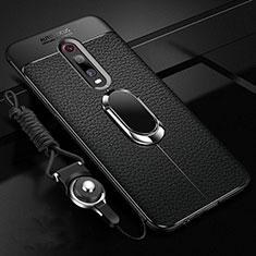 Coque Silicone Gel Motif Cuir Housse Etui avec Support Bague Anneau Aimante Magnetique T02 pour Xiaomi Mi 9T Pro Noir