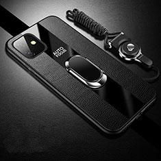 Coque Silicone Gel Motif Cuir Housse Etui avec Support Bague Anneau Aimante Magnetique T03 pour Apple iPhone 11 Noir