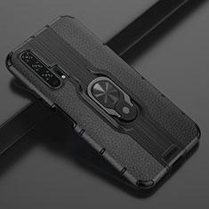 Coque Silicone Gel Motif Cuir Housse Etui avec Support Bague Anneau Aimante Magnetique T03 pour Huawei Honor 20 Pro Noir