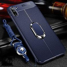 Coque Silicone Gel Motif Cuir Housse Etui avec Support Bague Anneau Aimante Magnetique T03 pour Samsung Galaxy Note 10 5G Bleu