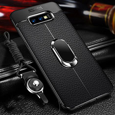 Coque Silicone Gel Motif Cuir Housse Etui avec Support Bague Anneau Aimante Magnetique T03 pour Samsung Galaxy S10e Noir