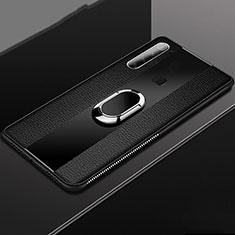 Coque Silicone Gel Motif Cuir Housse Etui avec Support Bague Anneau Aimante Magnetique T03 pour Xiaomi Redmi Note 8T Noir