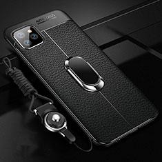 Coque Silicone Gel Motif Cuir Housse Etui avec Support Bague Anneau Aimante Magnetique T04 pour Apple iPhone 11 Pro Noir