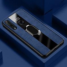 Coque Silicone Gel Motif Cuir Housse Etui avec Support Bague Anneau Aimante Magnetique T04 pour Huawei Honor 20 Lite Bleu
