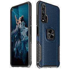 Coque Silicone Gel Motif Cuir Housse Etui avec Support Bague Anneau Aimante Magnetique T04 pour Huawei Honor 20 Pro Bleu