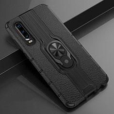 Coque Silicone Gel Motif Cuir Housse Etui avec Support Bague Anneau Aimante Magnetique T04 pour Huawei P30 Noir