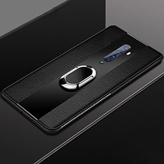 Coque Silicone Gel Motif Cuir Housse Etui avec Support Bague Anneau Aimante Magnetique T04 pour Oppo Reno2 Noir