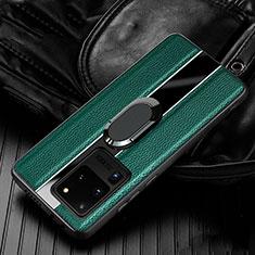 Coque Silicone Gel Motif Cuir Housse Etui avec Support Bague Anneau Aimante Magnetique T04 pour Samsung Galaxy S20 Ultra 5G Vert