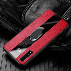 Coque Silicone Gel Motif Cuir Housse Etui avec Support Bague Anneau Aimante Magnetique T05 pour Huawei P30 Lite Rouge